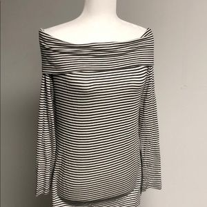 Three dots off-shoulder striped tunic top size M